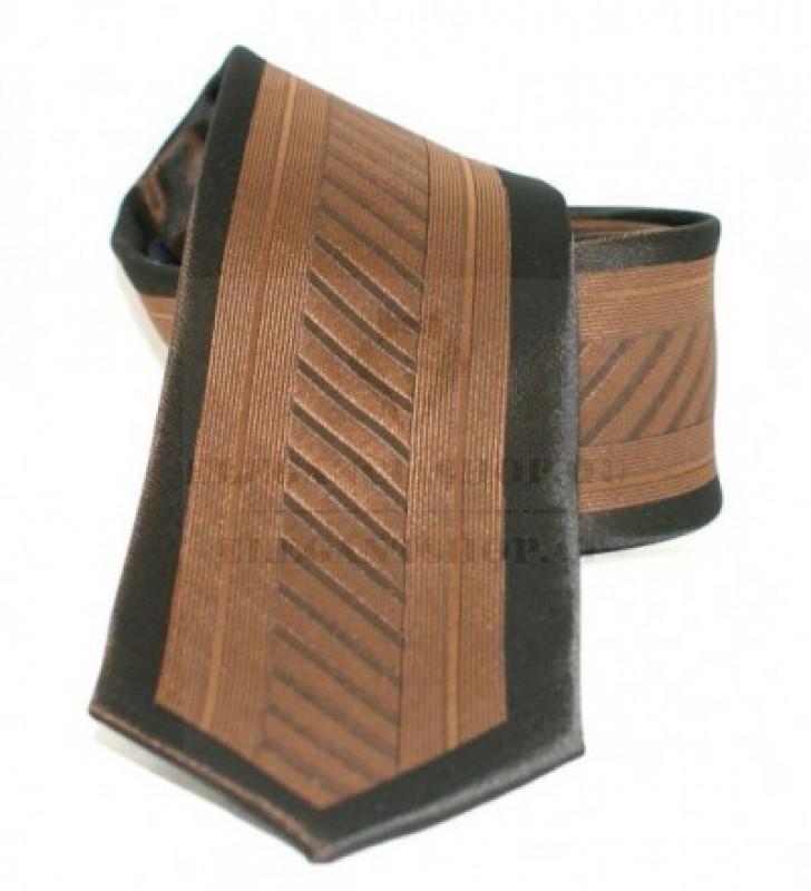 Goldenland slim nyakkendő - Barna-fekete mintás