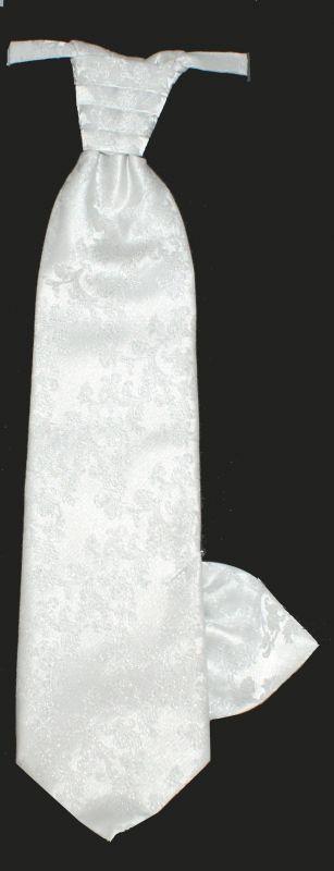 Francia nyakkendő,díszzsebkendővel - Fehér mintás