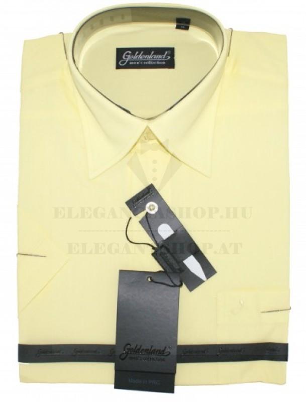 Goldenland rövidujjú ing - Halványsárga Normál fazon