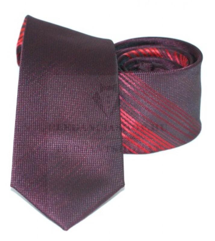 Goldenland slim nyakkendő - Padlizsán-piros csíkos