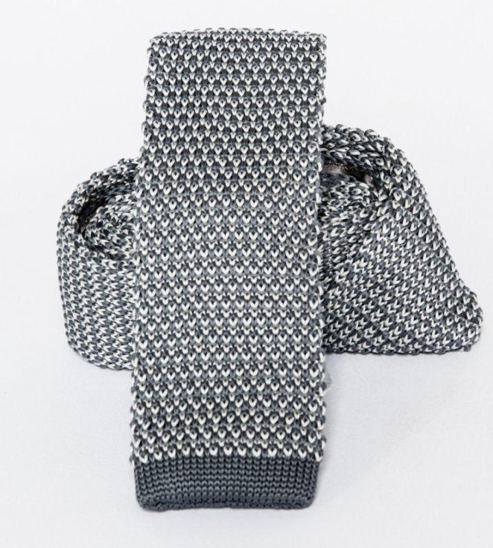 Prémium  kötött nyakkendő - Szürke-fehér