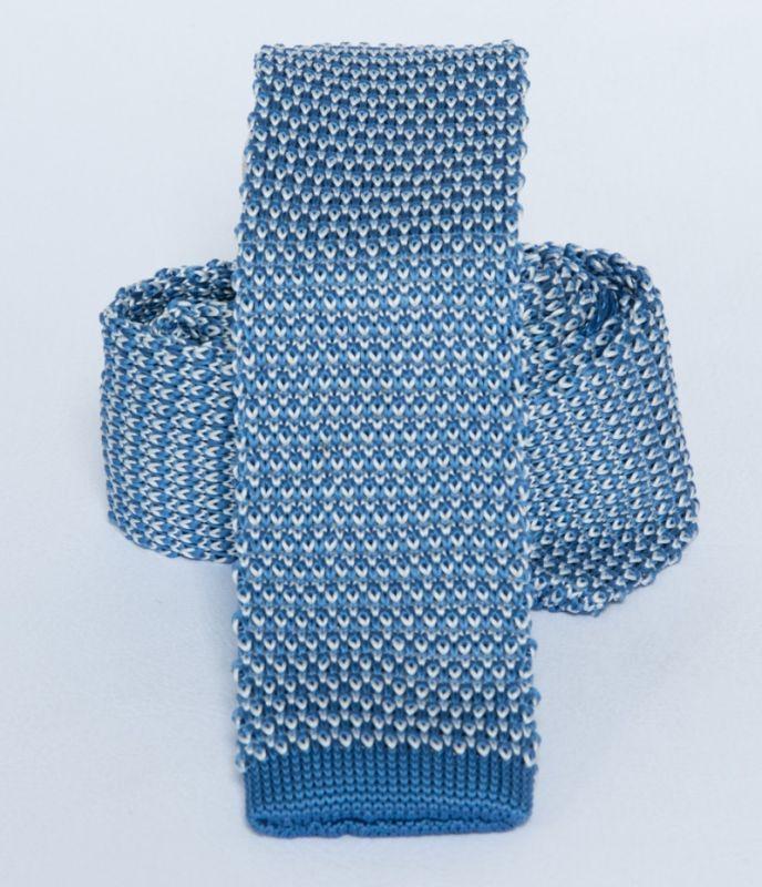Prémium  kötött nyakkendő - Kék-fehér Kötött nyakkendők