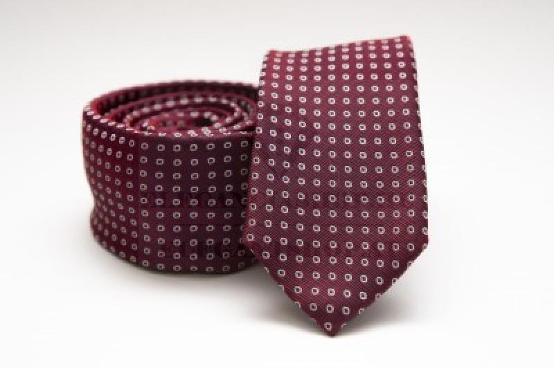 Prémium slim nyakkendő - Burgundi pöttyös