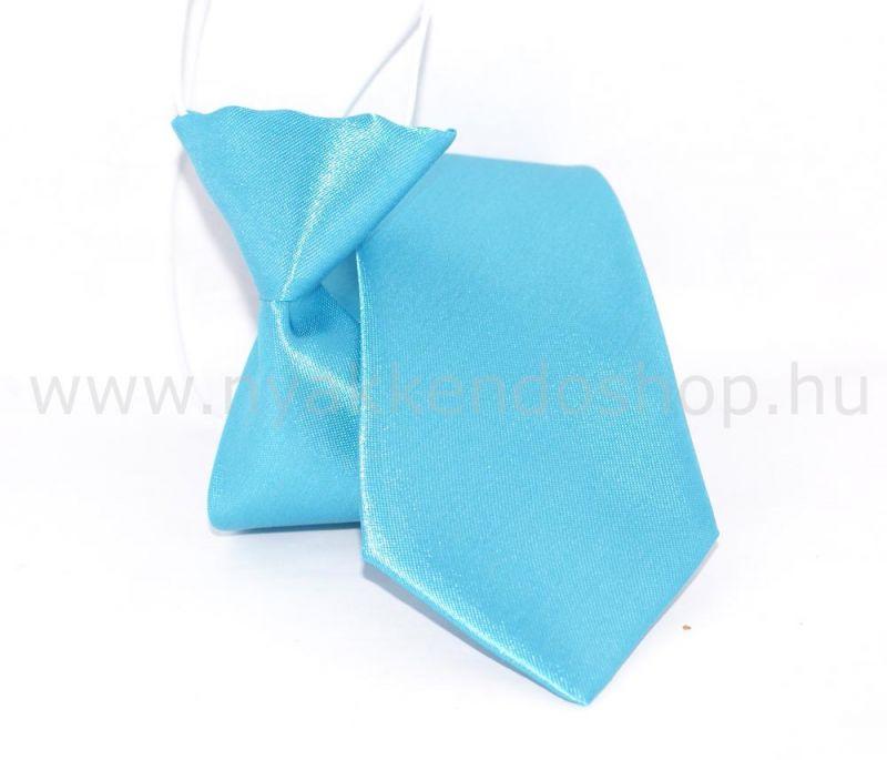Gumis szatén gyereknyakkendő (mini)- Tűrkízkék