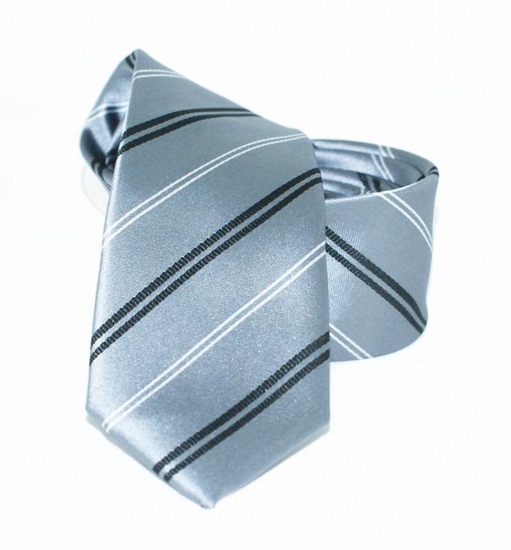 Goldenland slim nyakkendő - Ezüst csíkos