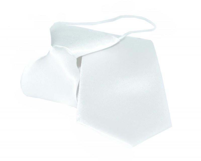 Gumis szatén gyereknyakkendő - Fehér Egyszínű