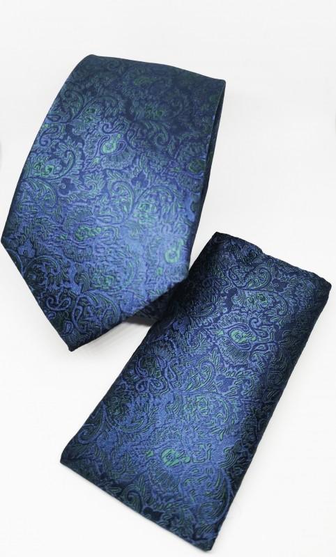 Prémium nyakkendő szett - Kék mintás