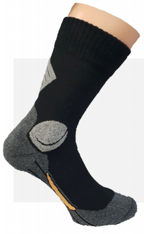 Komfort Munkás pamut zokni - Fekete-szürke