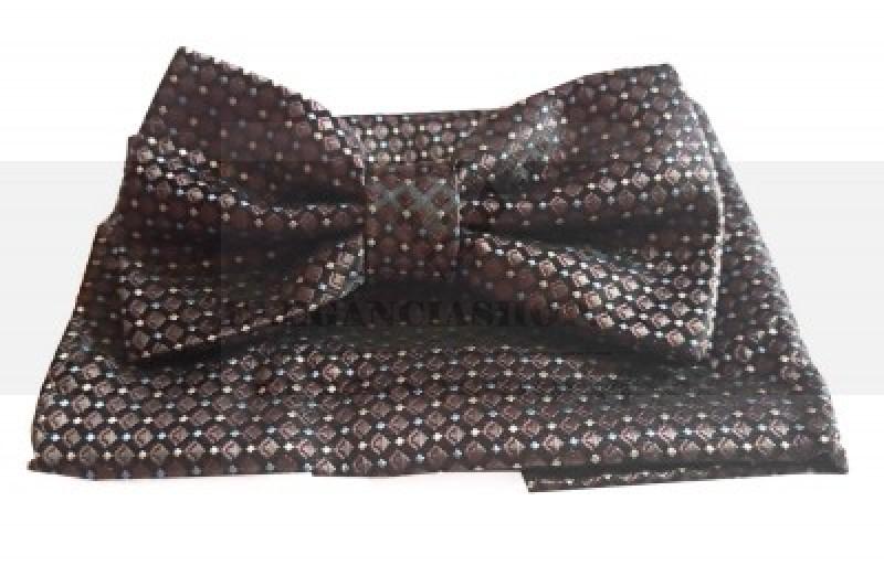 Goldenland csokornyakkendő szett - Sötétbarna pöttyös Csokornyakkendők