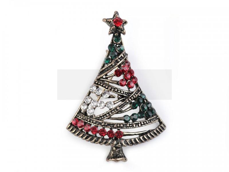 Bross csiszolt kővel karácsonyi fa  Kitűzők, Brossok