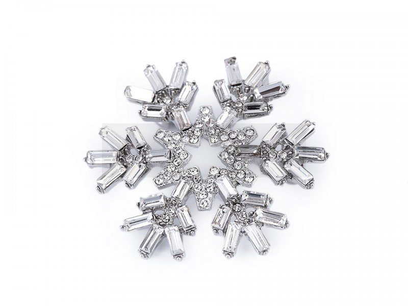 Bross hópehely csiszolt gyöngyökkel Kitűzők, Brossok