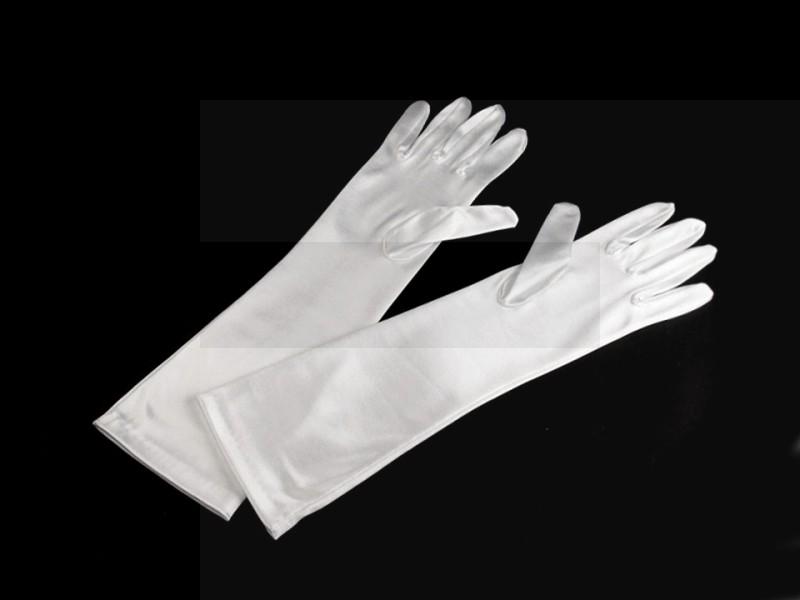 Alkalmi szatén kesztyű 40 cm - Fehér