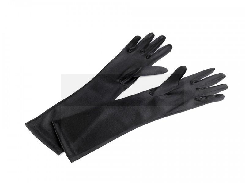 Alkalmi szatén kesztyű 40 cm - Fekete Női kiegészítők