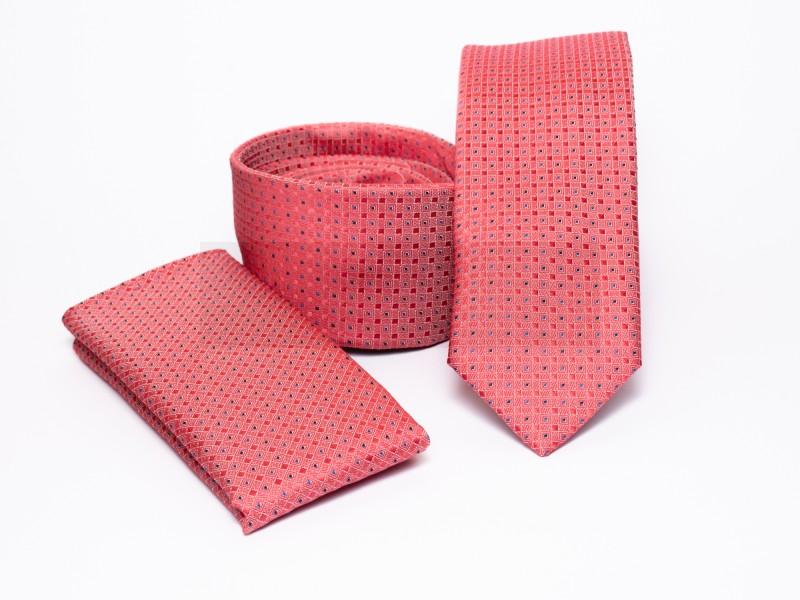 Prémium slim nyakkendő szett - Lazac pöttyös