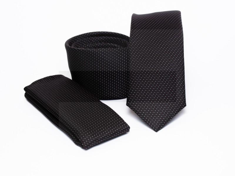 Prémium slim nyakkendő szett - Fekete pöttyös
