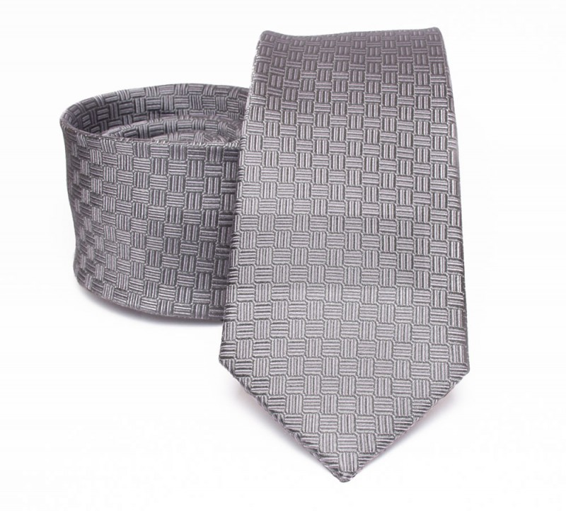 Prémium selyem nyakkendő - Szürke aprómintás