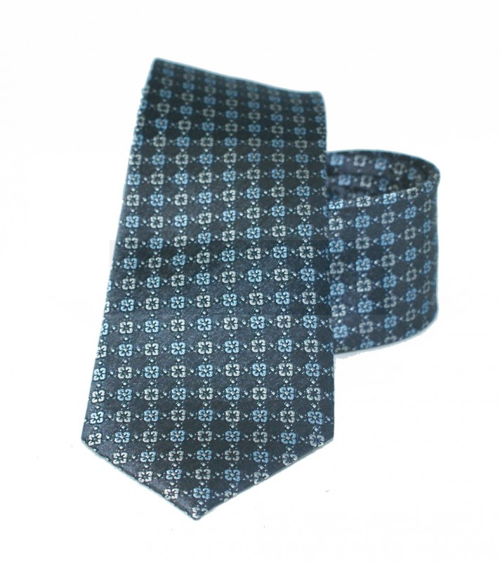 Vincitore slim selyem nyakkendő - Szürke-kék mintás Aprómintás nyakkendő