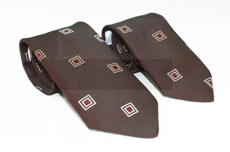 Szatén apa-fia nyakkendő szett - Sötétbarna kockás