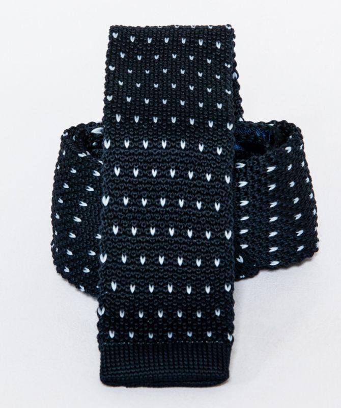 Prémium  kötött nyakkendő - Sötétkék-fehér