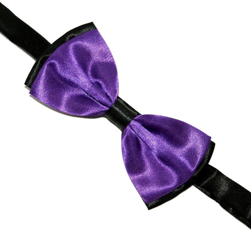 Szatén csokornyakkendő - Lila-fekete Csokornyakkendők
