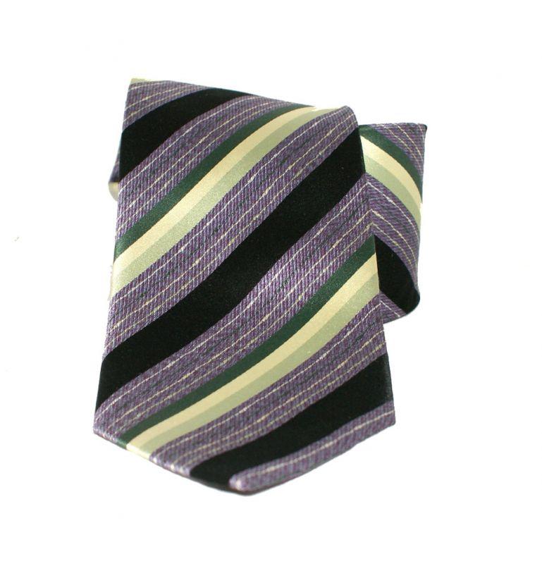 Saint Michael selyem nyakkendő - Lila-zöld csíkos Csíkos nyakkendők