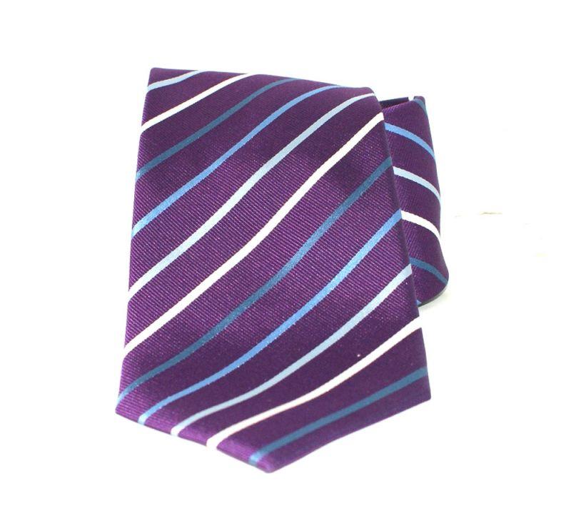 Saint Michael selyem nyakkendő - Lila csíkos Csíkos nyakkendők