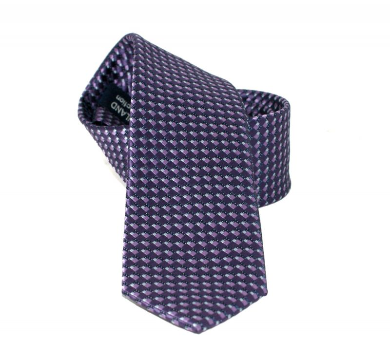 Goldenland slim nyakkendő - Lila aprómintás