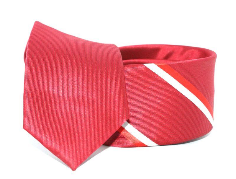 Goldenland slim nyakkendő - Meggypiros csíkos