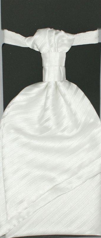 Francia nyakkendő,díszzsebkendővel - Fehér csíkos