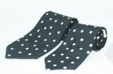 Szatén apa-fia nyakkendő szett - Fekete-fehér pöttyös