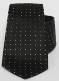 Prémium selyem nyakkendő - Fekete-fehér pöttyös