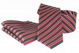 Goldenland nyakkendő szett - Fekete-piros csíkos