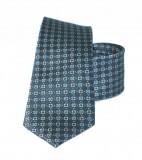 Vincitore slim selyem nyakkendő - Szürke-kék mintás