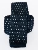 Prémium  kötött nyakkendő - Fekete-fehér mintás