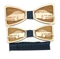 Fa apa-fia csokornyakkendő szett - Autó mintás Csokornyakkendők