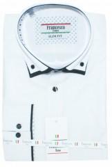 Francesco slim hosszúujjú ing - Fehér-fekete betétes