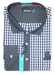 Goldenland extra hosszúujjú ing - Kék kockás Hosszúujjú ingek