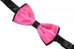 Zsorzsett szatén csokornyakkendő - Fekete-pink