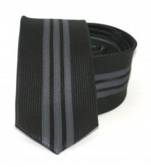 Goldenland slim nyakkendő - Fekete-szürke csíkos