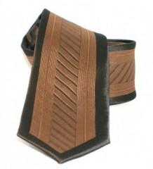 Goldenland slim nyakkendő - Barna-fekete mintás Csíkos nyakkendők