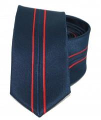 Goldenland slim nyakkendő - Sötétkék-piros csíkos