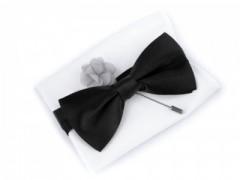 Szatén csokornyakkendő szett - Szürke-fekete