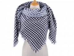 Női sálkendő tyúkláb mintás - Kék-fehér