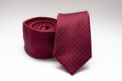 Prémium slim nyakkendő - Meggybordó mintás