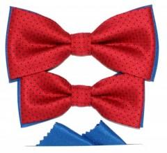 Apa-fia csokornyakkendő szett - Piros pöttyös Csokornyakkendők