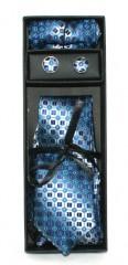 Marquis nyakkendő szett - Kék mintás Kockás nyakkendők