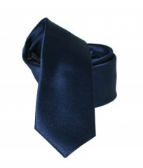 Goldenland slim nyakkendő - Sötétkék szatén Egyszínű nyakkendők