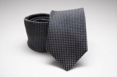 Prémium selyem nyakkendő - Fekete kockás Kockás nyakkendők