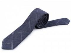 Gyapjú slim nyakkendő - Kék kockás