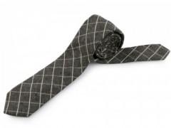 Gyapjú slim nyakkendő - Szürke kockás